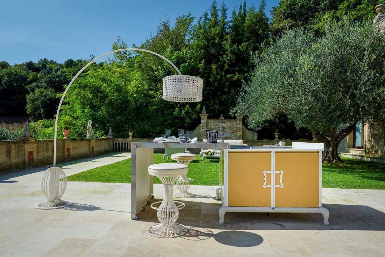 outdoor kitchen modules corner hutch 现代风格厨房 粉末涂层钢 瓷质 户外 island samuele mazza by dfn
