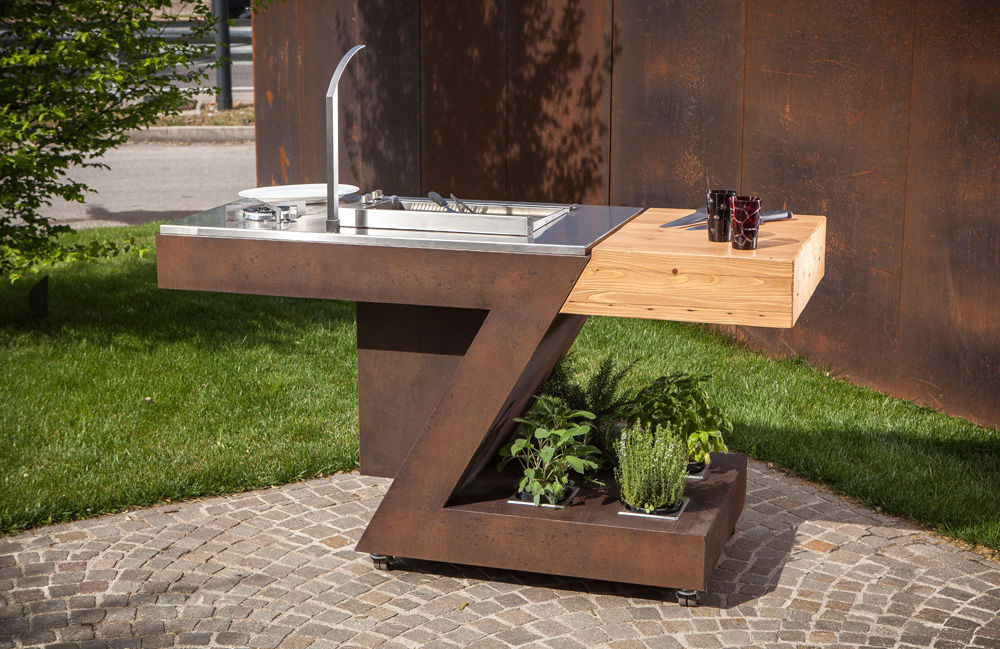 modern outdoor kitchen cost of replacing cabinets 户外厨房 现代风格 不锈钢 木质 by massimo zanchetta teckmar srl