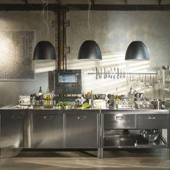 Rolling Island Kitchen Cabinet Calculator 现代厨房岛台 Unit 195x320 Alpes Inox