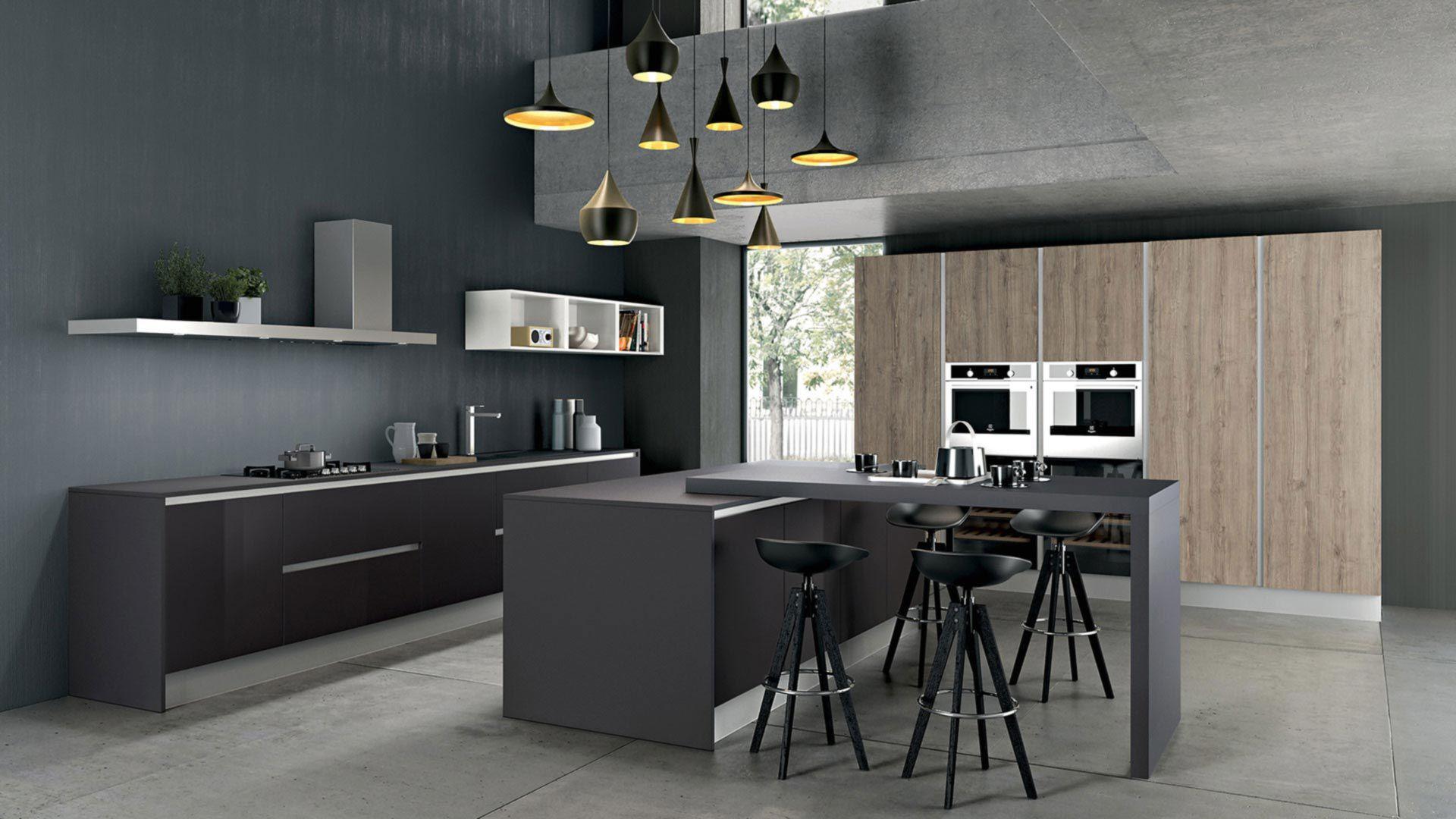 kitchen island with range broan hood 现代风格厨房 en stratifie 岛台式 烤漆 tau composition 01