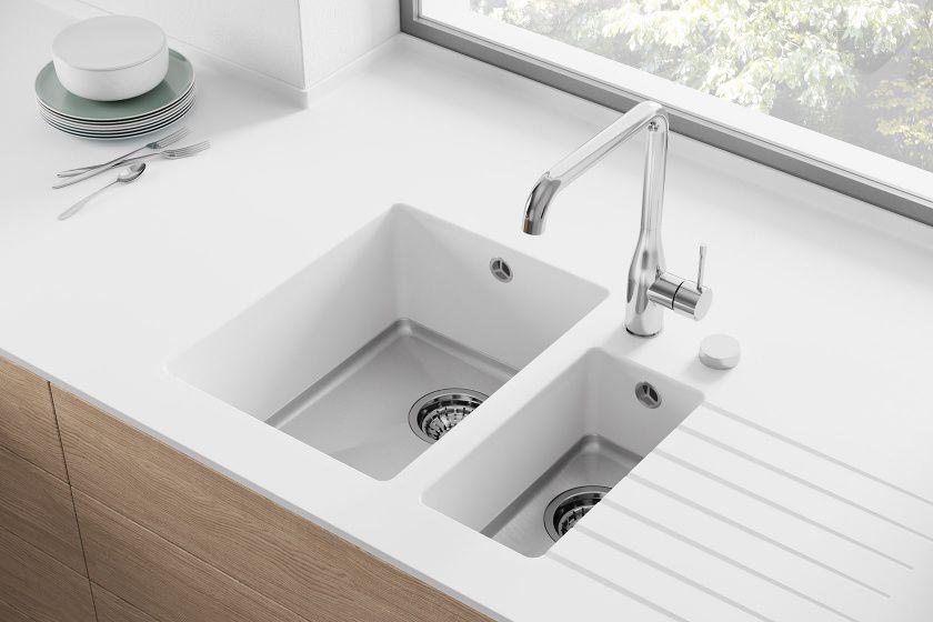 corian kitchen sinks red knife block set 双槽厨房水槽 可丽耐 fontana fsp hasenkopf