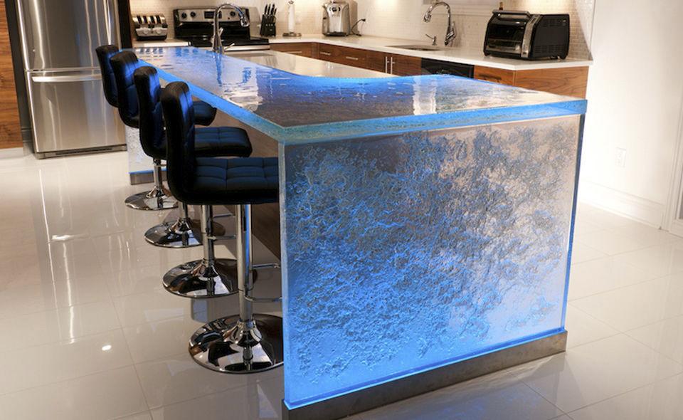 kitchen counter options cart with granite top 厨房柜台 玻璃 直线型 发光 thinkglass