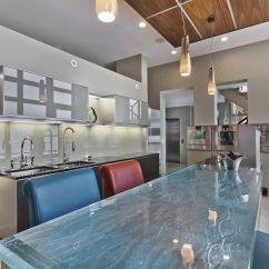 Kitchen Counter Bench Table 厨房柜台 玻璃 直线型 L 形 Thinkglass