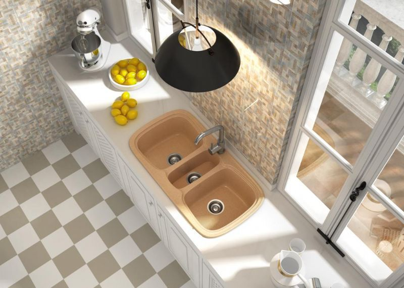 kitchen sink materials small dinette sets 3槽式厨房水槽 复合材料 onice sanizeo