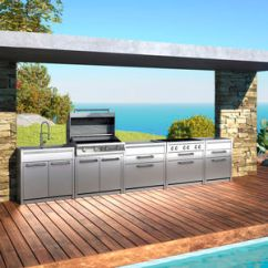 Outdoor Kitchen Modular Stainless Steel Cabinets For Sale 户外厨房产品信息 经销网络 建筑和设计产品制造商 Archiexpo 视频 户外厨房 现代风格 不锈钢 带手柄