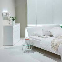 Contemporary Bedside Table Metal Glass Round Pulso Hulsta