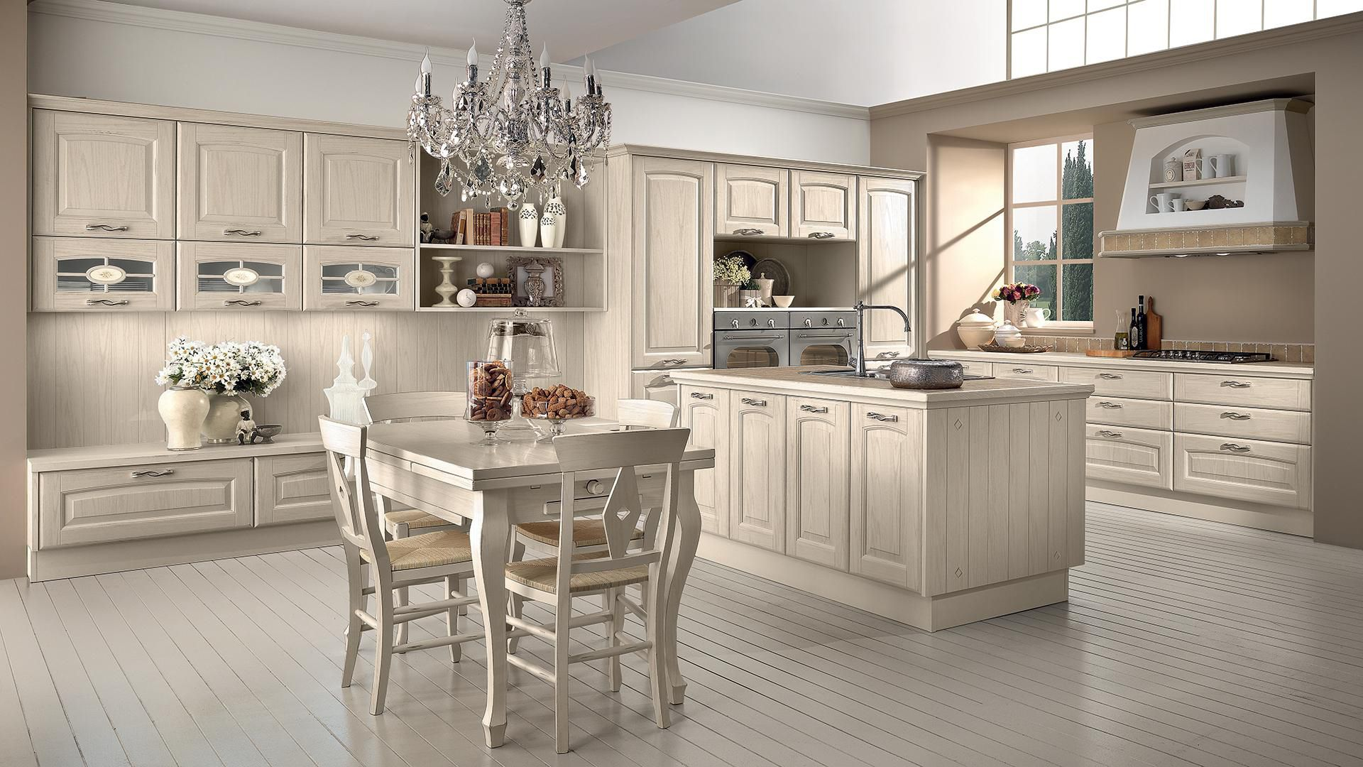Lube Cucine Veronica Traditional Kitchen Solid Wood Island With Handles Veronica Cucine Lube