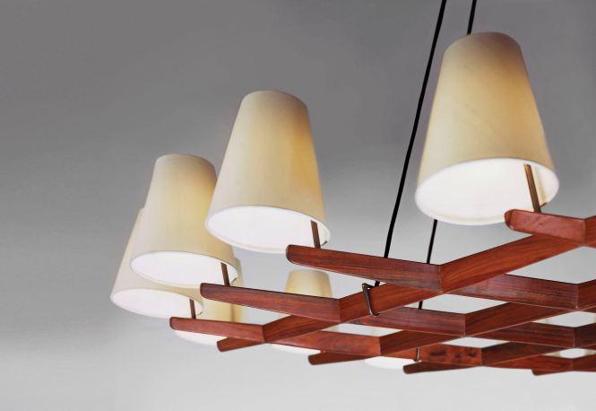 Contemporary Chandelier Silk Wooden Incandescent Hallstatt