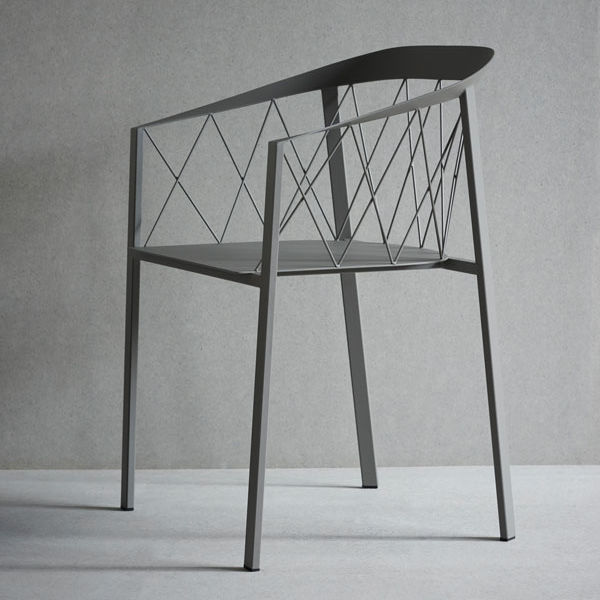 steel net chair charlie modern wingback dining contemporary garden with armrests powder coated my by ida linea hildebrand