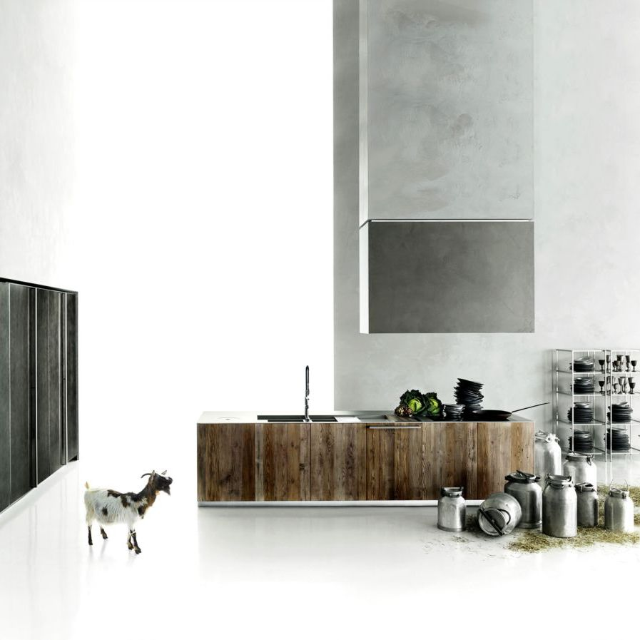 Cuisine Salinas Boffi Prix Contemporary Kitchen Wood Veneer Solid Wood Stone Aprile
