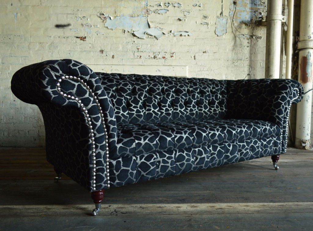 animal print sofas how to clean dirty cloth sofa chesterfield chromed metal fabric 2 person marwell