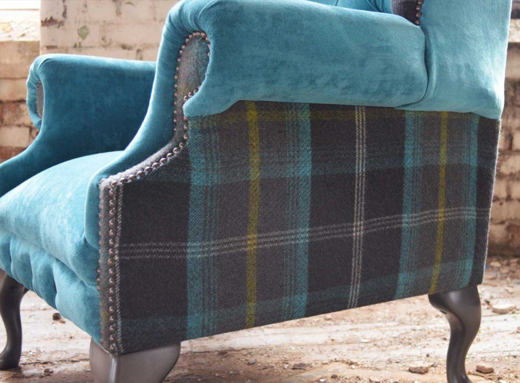 tartan chesterfield sofa cheap loveseat set armchair fabric wing high back moray