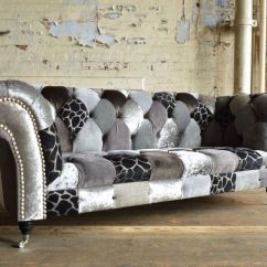 Chesterfield Sofa Material Tiny Bed Fabric 3 Seater On Casters Grey Animal