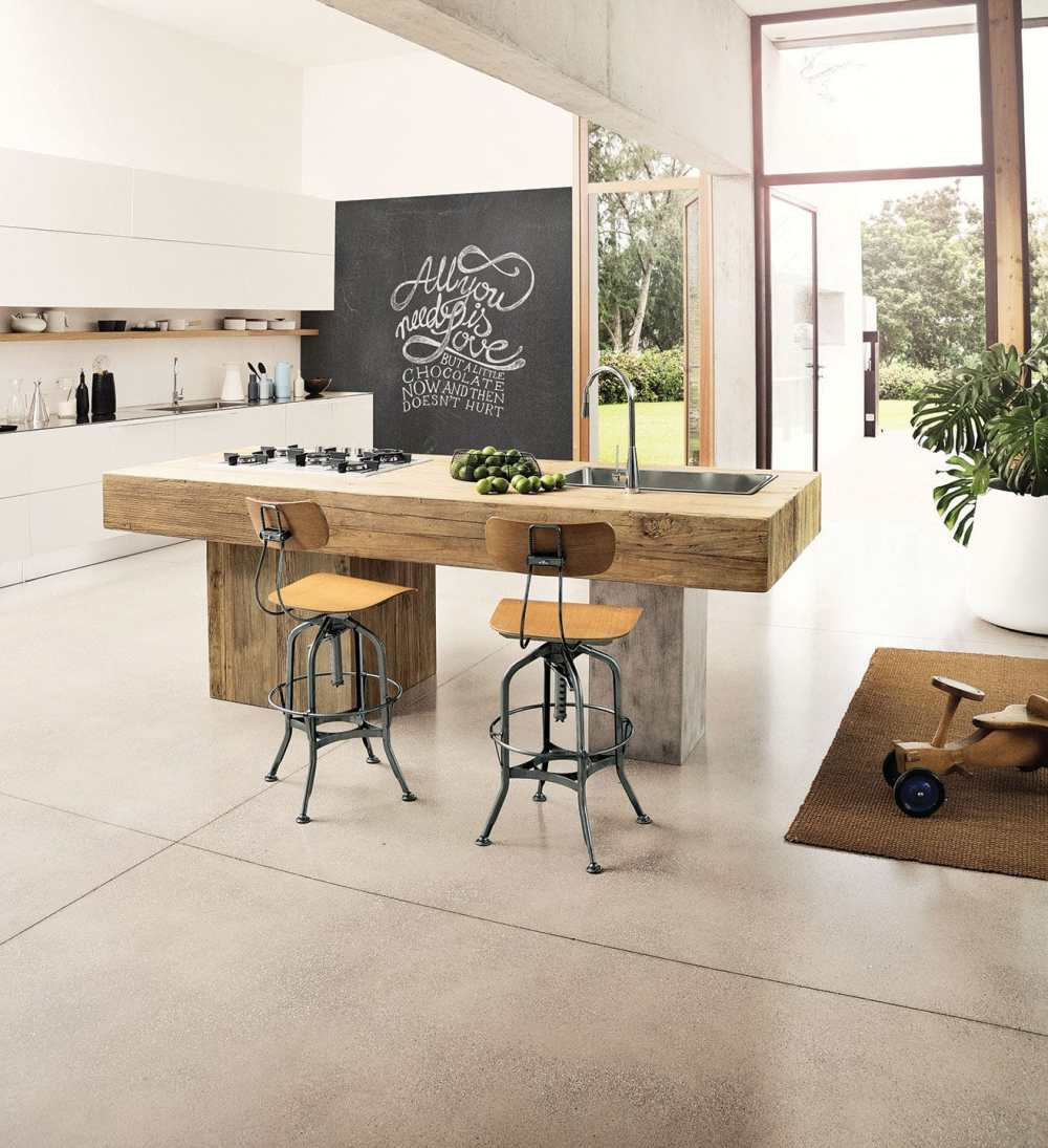 medium resolution of contemporary kitchen elm metal island ponza