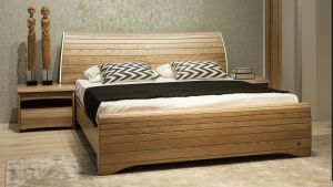 Double Bed Contemporary With Headboard Wooden Danae