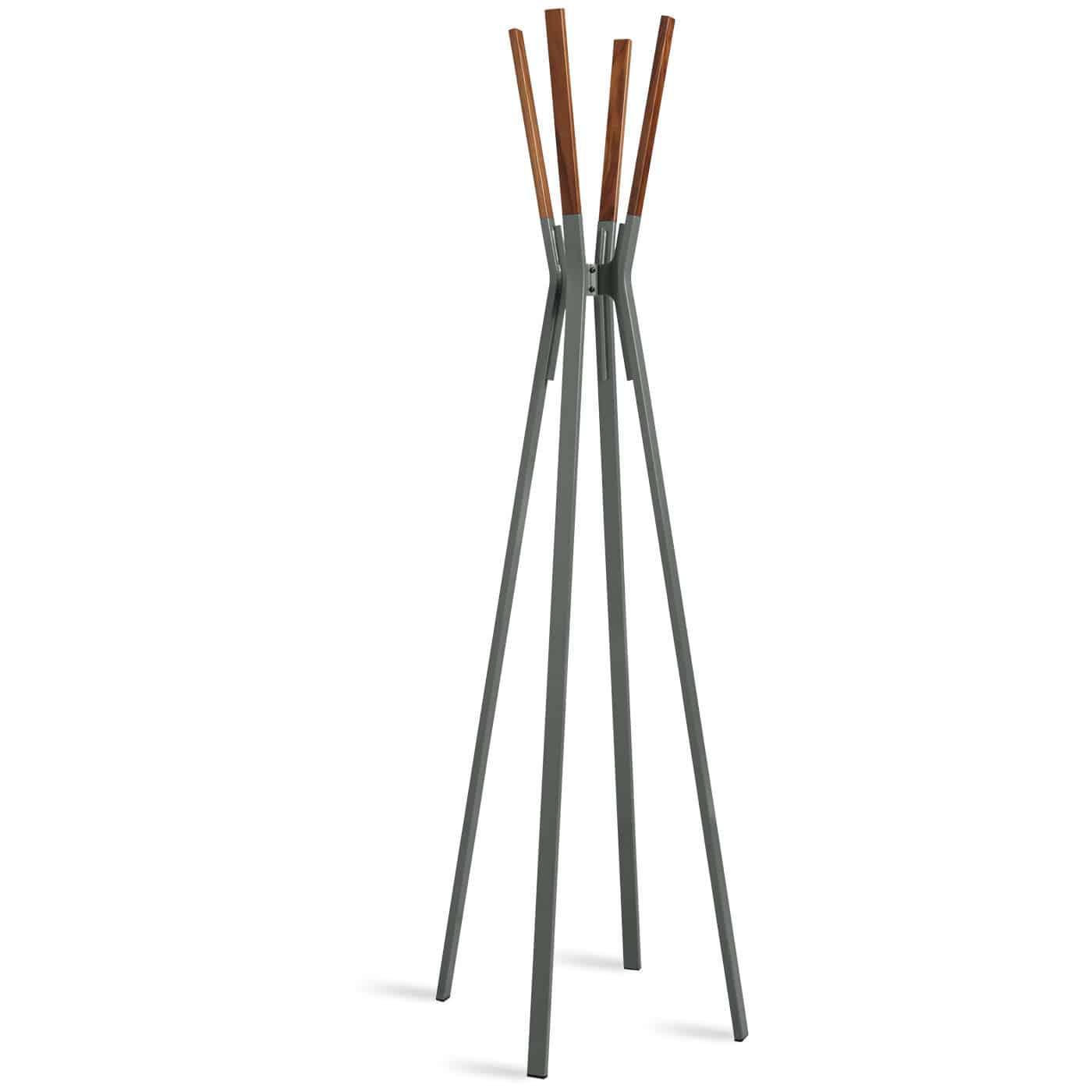 floor coat rack contemporary powder coated steel walnut splash blu dot