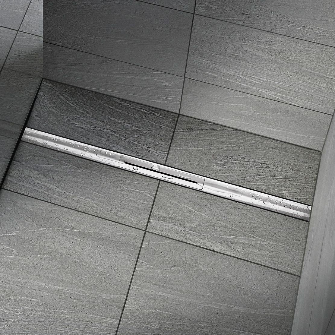 brushed stainless steel linear shower