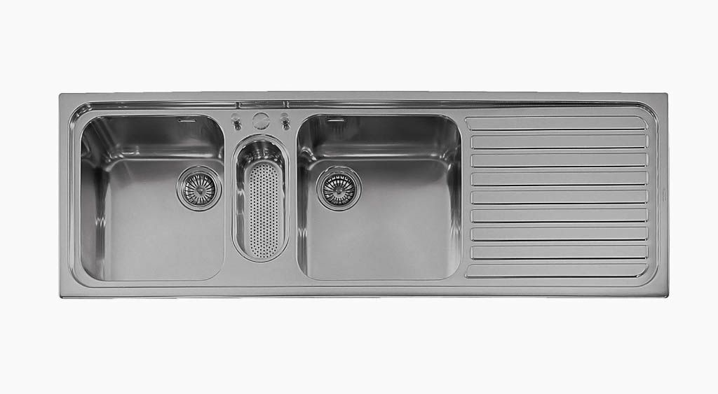 triple kitchen sink cabinets knobs and pulls bowl stainless steel with drainboard