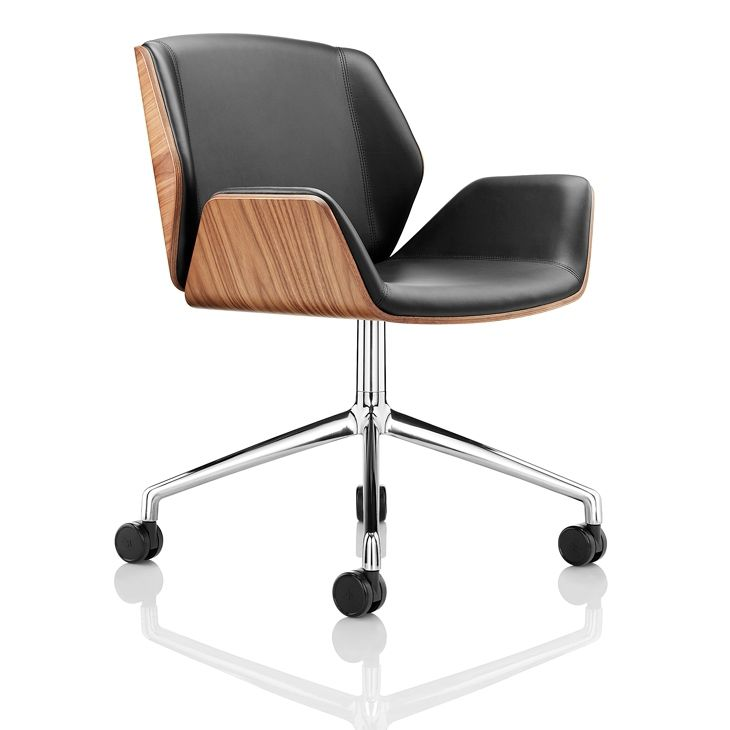 contemporary office chairs modern slipper chair on casters with armrests star base kruze by david fox