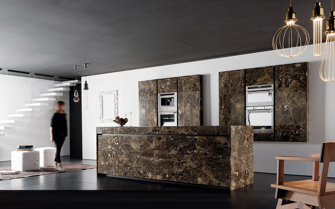 Contemporary Kitchen Marble Island Handleless ESSENTIAL