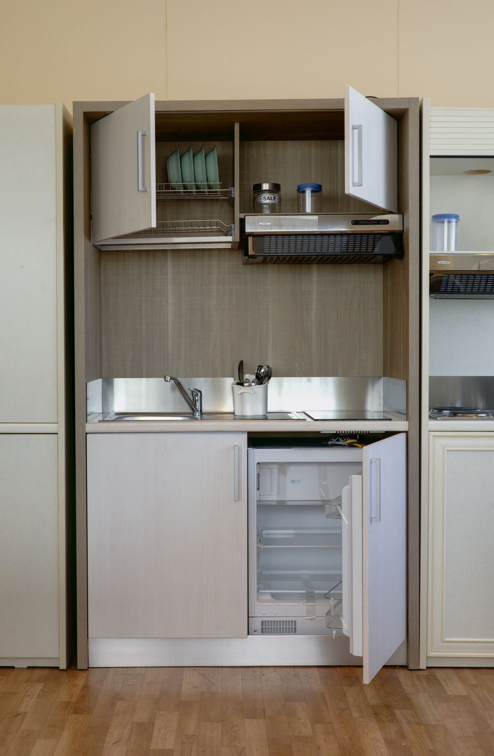kitchen compact used cabinets kansas city wooden commercial for offices hotel rooms monoblock contemporary hanging cabinet k130 cm 127 6