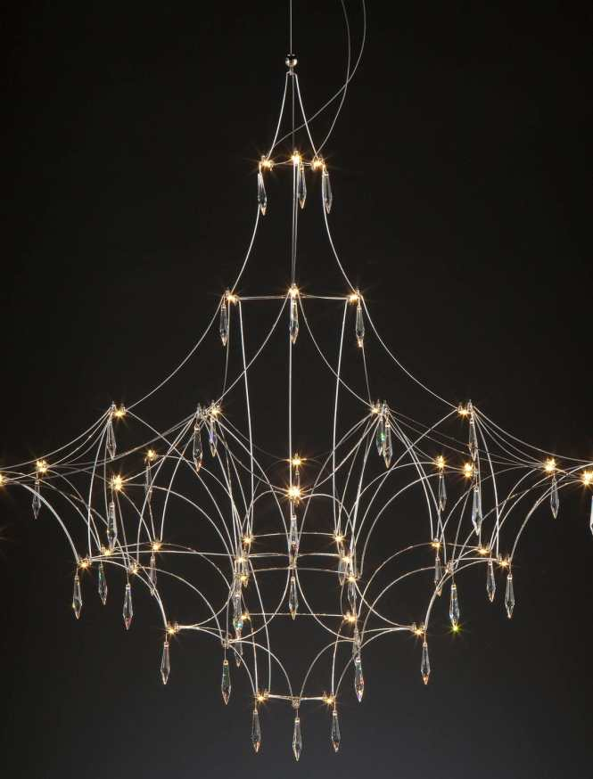 Original Design Chandelier Swarovski Crystal Nickel Led Mira By Jan Pauwels