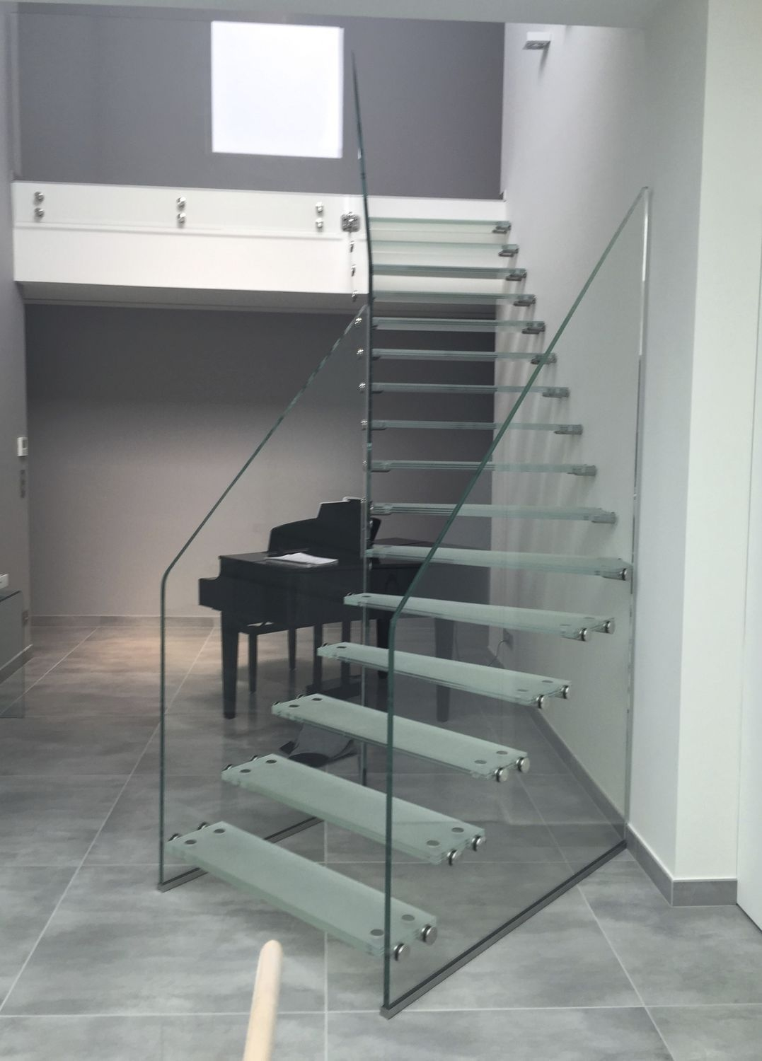 Quarter Turn Staircase Skystep Trescalini Glass Frame | Frosted Glass Stair Panels | Smoked | Toughened | Deck | Balcony | Contemporary