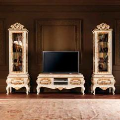 Wood Wall Units For Living Room Orange Curtains Classic Unit Painted Villa Venezia
