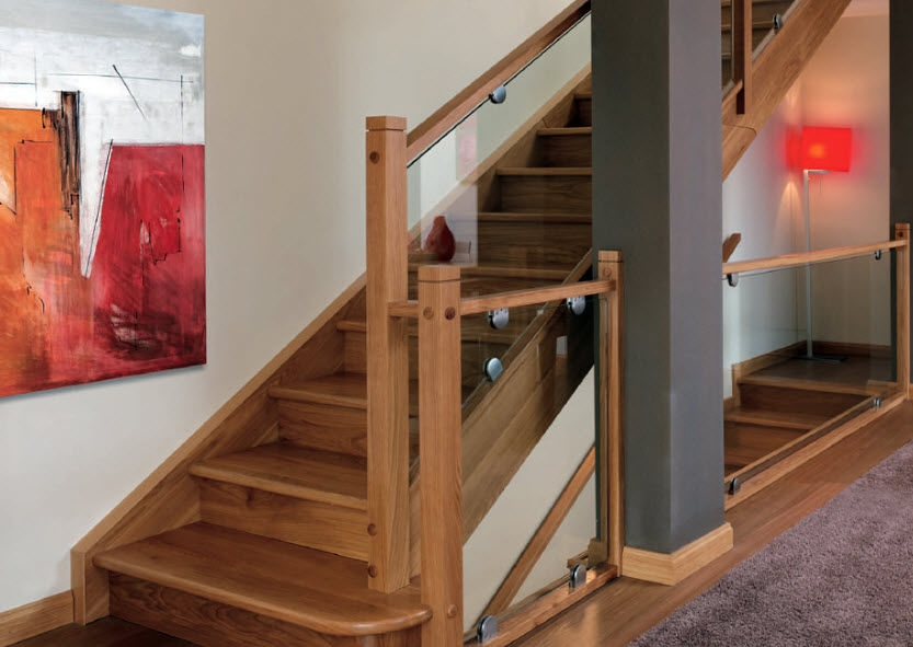 Wooden Railing Garnacha Eima Glass Panel Indoor For Stairs   Staircase Wood And Glass   Commercial Wood   New   Ash Wood   Simple Glass   Glass Bal