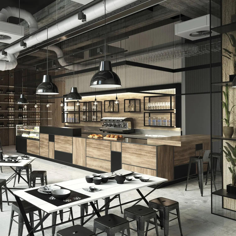arredamento country, la tradizione in casa. Bar Counter Madison Frigomeccanica Wooden U Shaped Modular