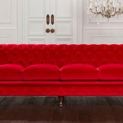 Velvet Chesterfield Sofa Prices Cheap Corner Under 100 Fabric 3 Seater Red Belchamp Distinctive