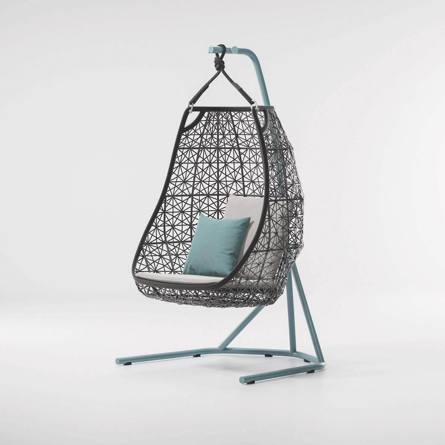 swing chair patricia urquiola modern patio contemporary fabric aluminum synthetic fiber maia by