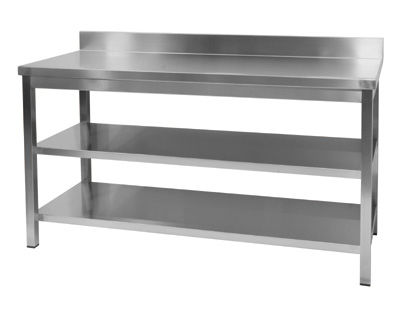 stainless steel kitchen table hotels with kitchens in vegas countertop commercial wall