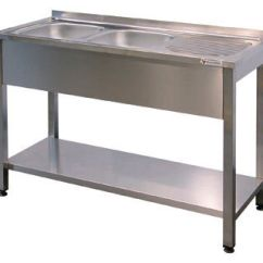 Commercial Kitchen Sink Island Back Panel Single Bowl Stainless Steel Domestic Washboard