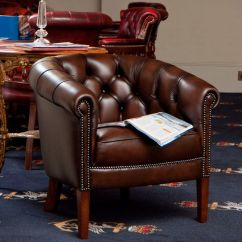 Traditional Leather Wingback Chair X2 Office Armchair Brown Victorian Kingsgate
