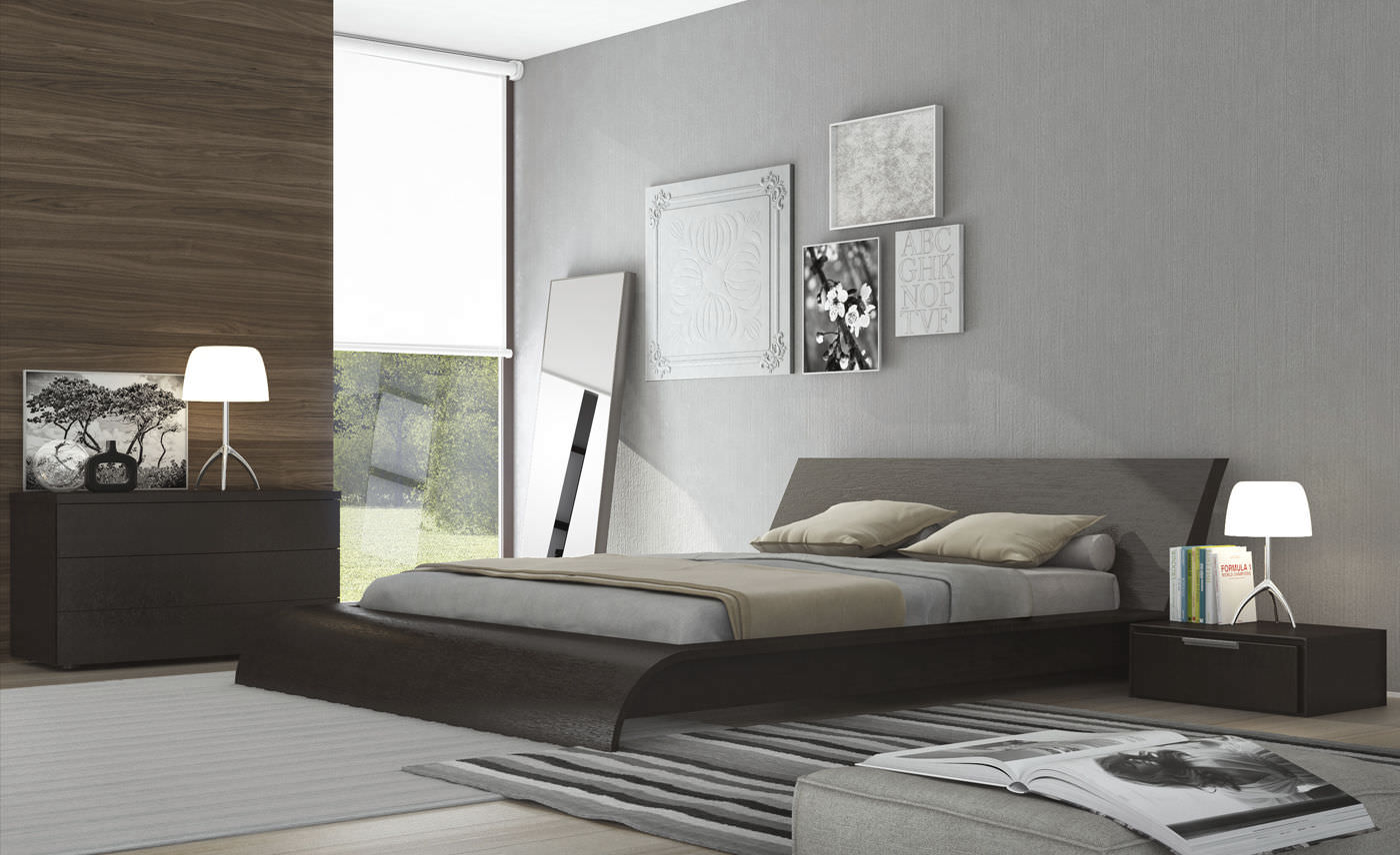 Double Bed Contemporary Wooden Waverly Cal King