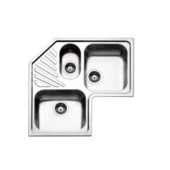 Triple Kitchen Sink Las Vegas Hotels With Bowl Stainless Steel Corner Drainboard Angolo Roan3i