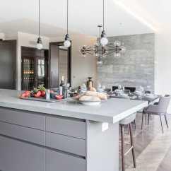 Kitchen Stone Black Trash Bags Contemporary Wood Veneer Island Villa London