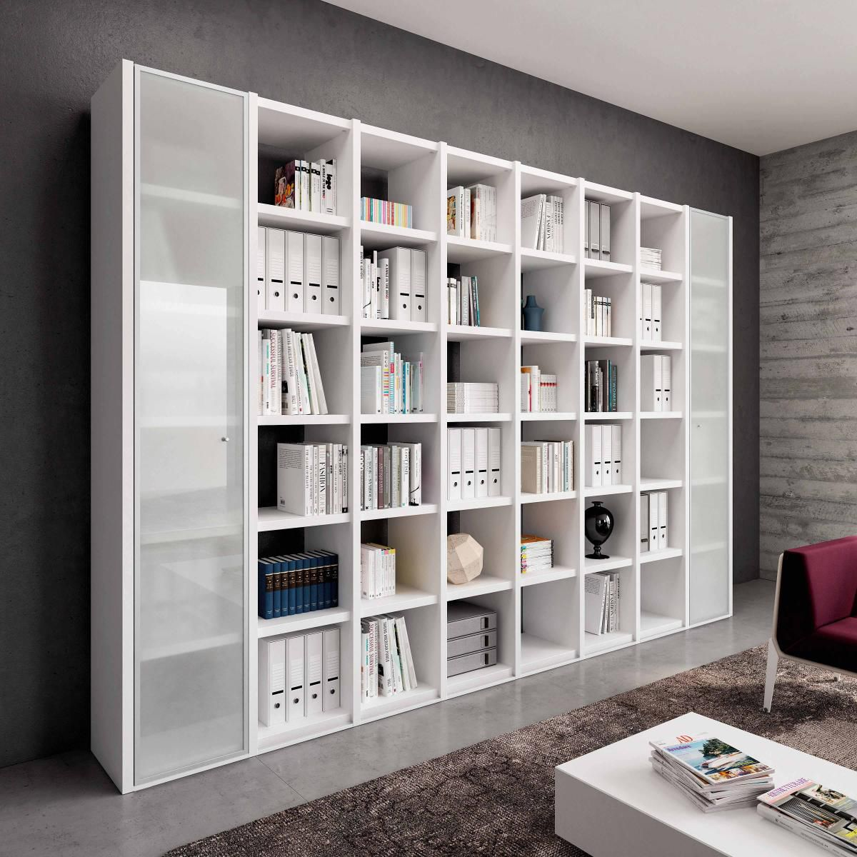 Contemporary Bookcase Commercial Lacquered Wood Glass