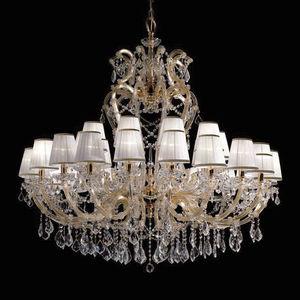 Classic Chandelier Glass Metal Fabric
