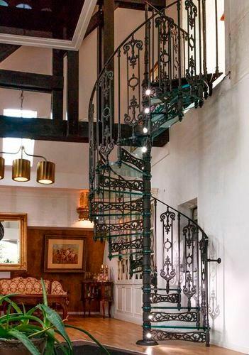 Spiral Staircase C142 Ghisarredo Steel Frame Cast Iron   Cast Iron Staircase Railing   Exterior   Spanish Style   Walnut Iron   Balcony   Ornamental