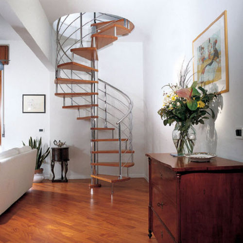 Spiral staircase / stainless steel frame / wooden steps / overhead STAINLESS STEEL-WOOD Marretti