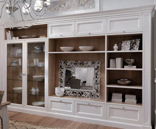 Soggiorno shabby chic in vendita in arredamento e casalinghi: Traditional Living Room Wall Unit Grenoble Gr08 Mobili Busatto Lacquered Wood Glass