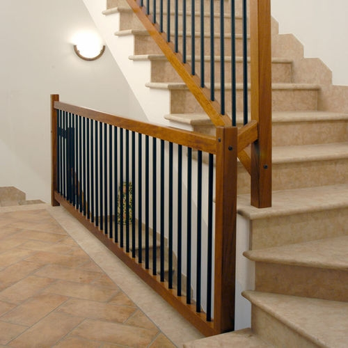 Wooden Balustrade Zero Italian Fashion Stairs Steel Indoor   Wood And Steel Handrail   Wood Framed   Interior   Round   Rustic   Glass
