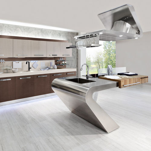 Contemporary kitchen / wood / stainless steel / island HOUSE ORGANIC 5 Ar-Tre