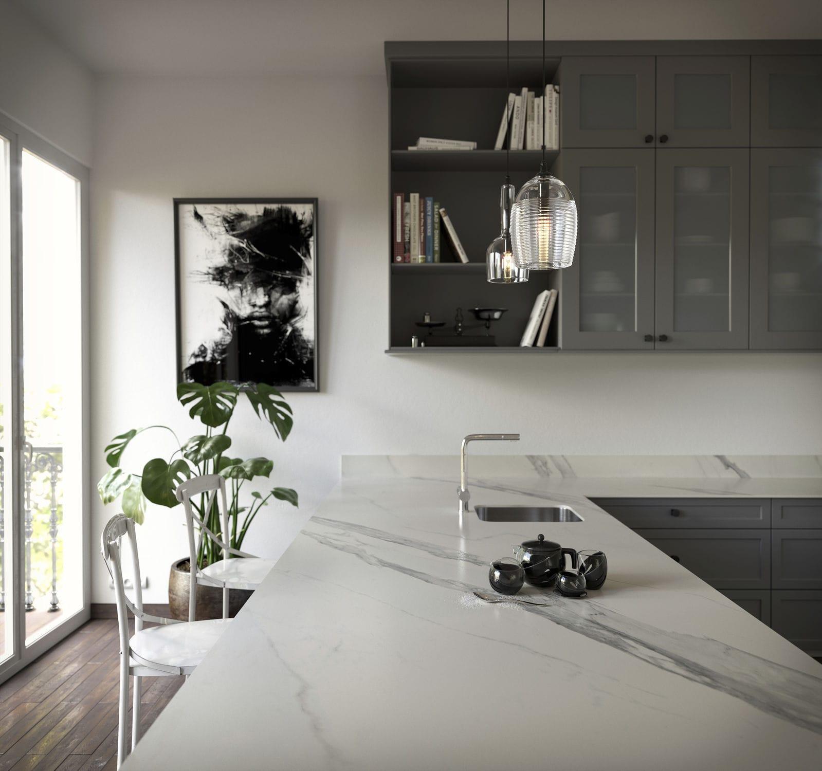 Marmor Kuchenarbeitsplatte Arbeitsplatte Marmor Schwarz Elegant