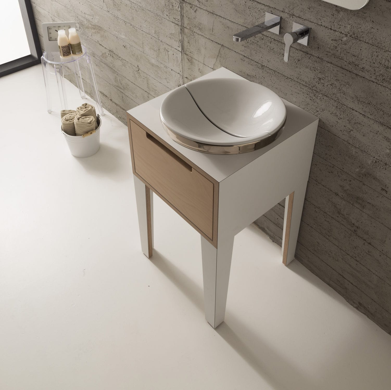 Gallery of Freistehender Waschtisch Unterschrank Holz Modern