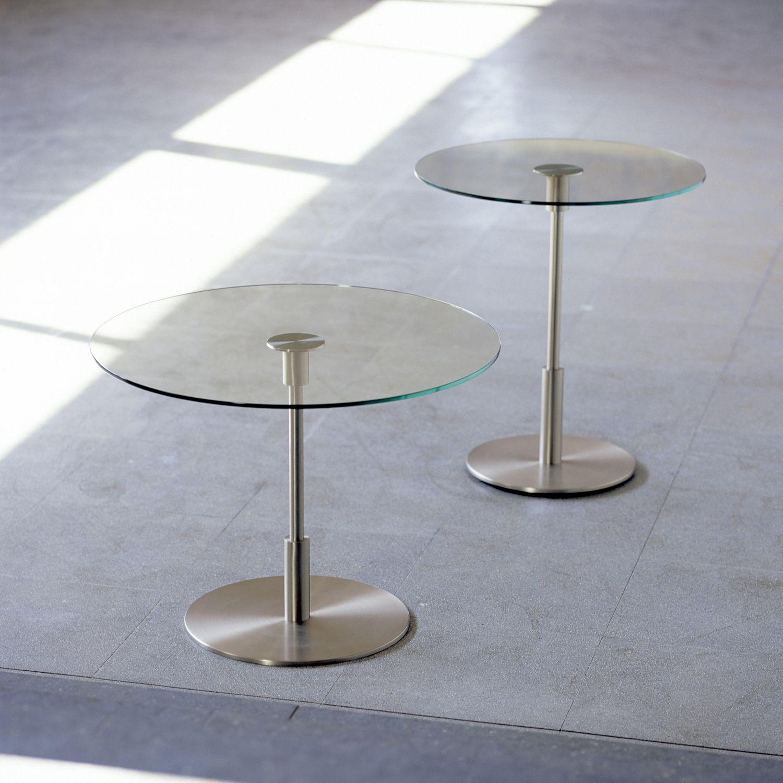 Beistelltisch Glas Rund Höhenverstellbar Couchtisch Aus Glas Und