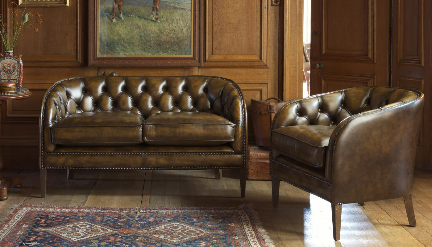 Chesterfield Sofa Hochlehner Chesterfield Sofa Leder 2 Plätze Braun Tobias Fleming