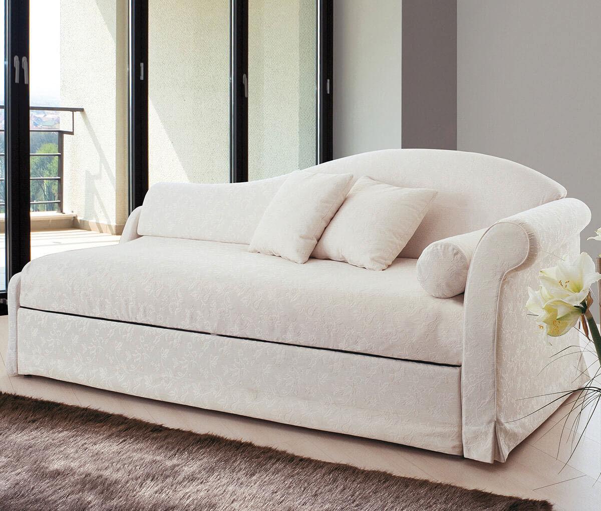 canape lit classique en velours avec lit gigogne